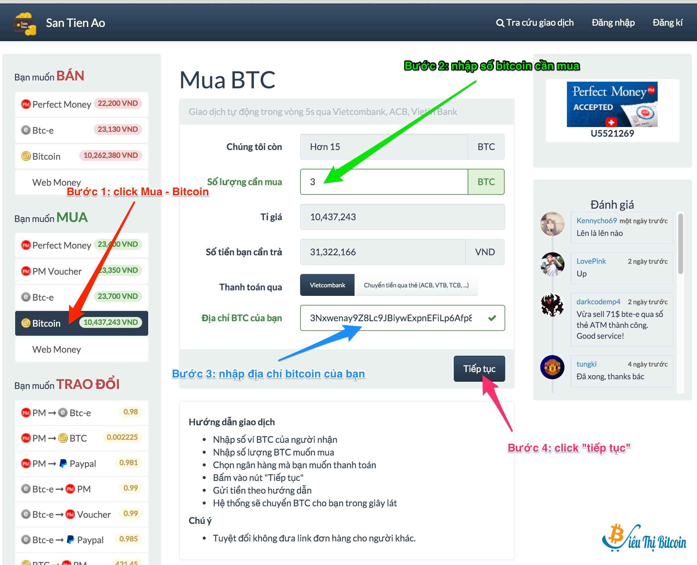 Hướng dẫn mua Bitcoin bằng VNĐ uy tín tại Santienao