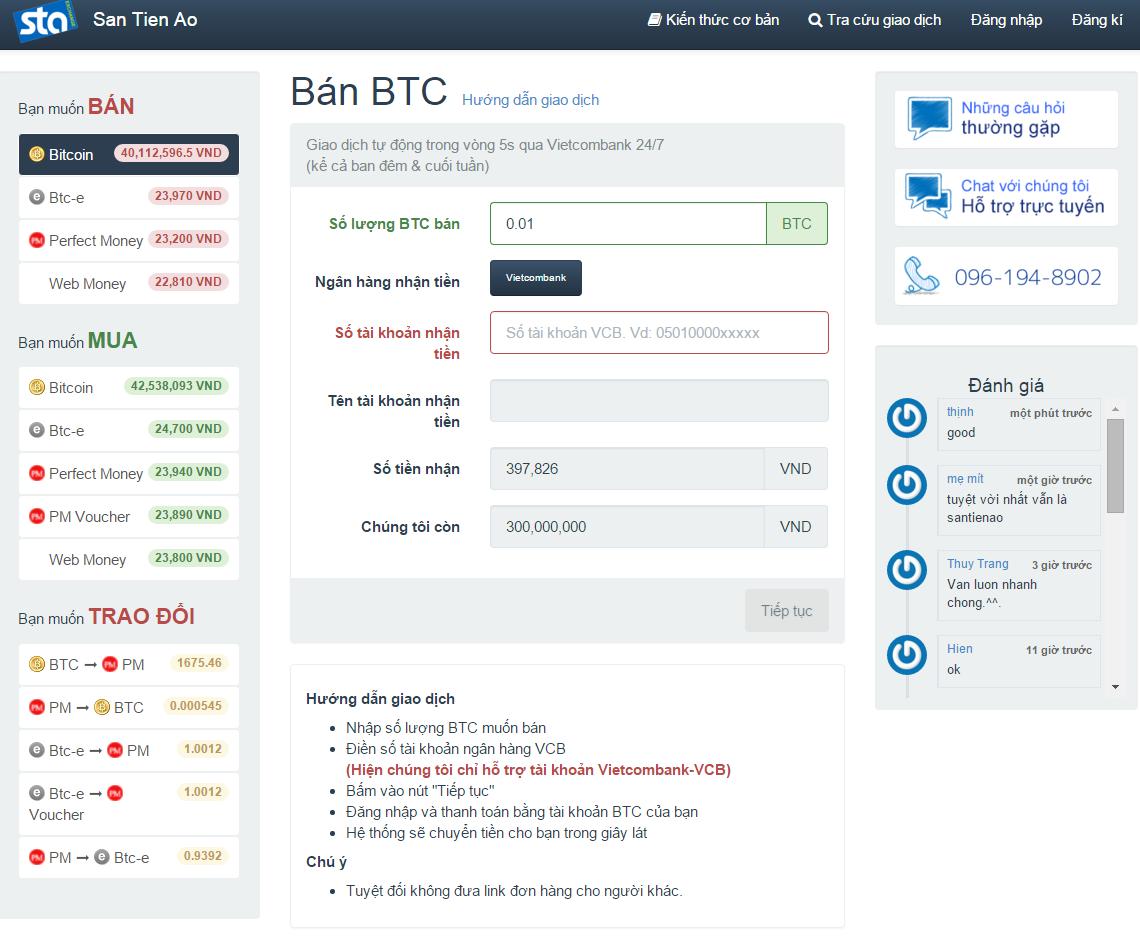 Bước 2: Chuyển Bitcoin đến đúng địa chỉ tại santienao: