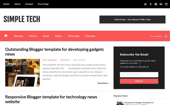 Simple Tech Blogger Template